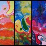 ENJOY trittico/MorningStar-DeepDay-BlueHunger_80x30x3_acrilico e applicazioni su tela_2009